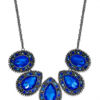 Macy's sale: Styleco. Hematite-Tone Blue Faceted Stone Frontal Necklace