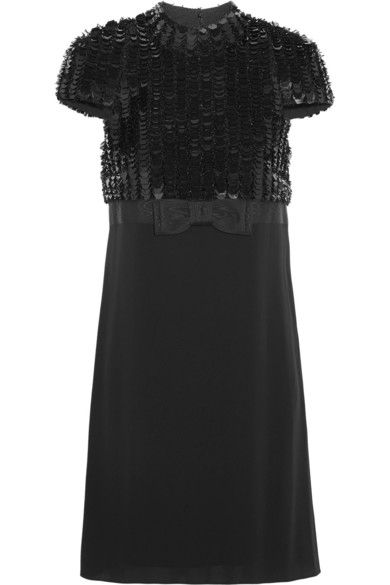 SAINT LAURENT Paillette-embellished crepe mini dress