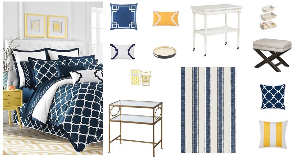 HOME DECOR IDEAS: Bedroom design using navy, white and yellow