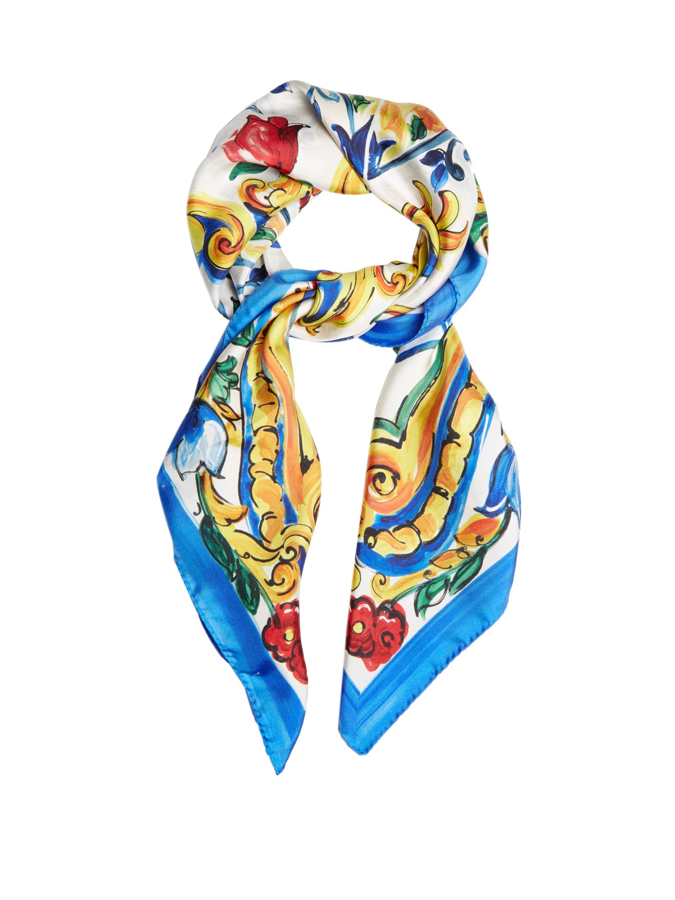 CASUAL CHIC: DOLCE and GABBANA Majolica-print silk-twill scarf