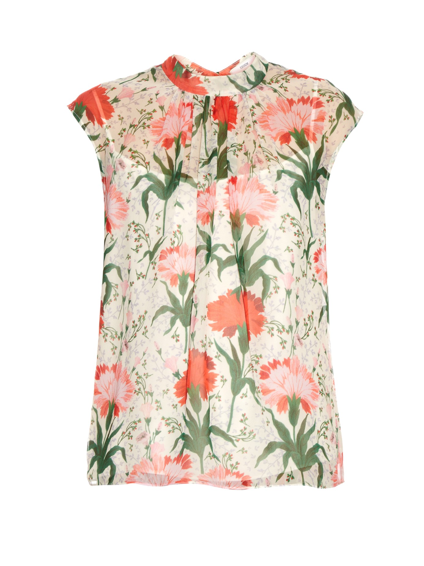 CASUAL CHIC: ERDEM Iona Carnation-print silk-voile top