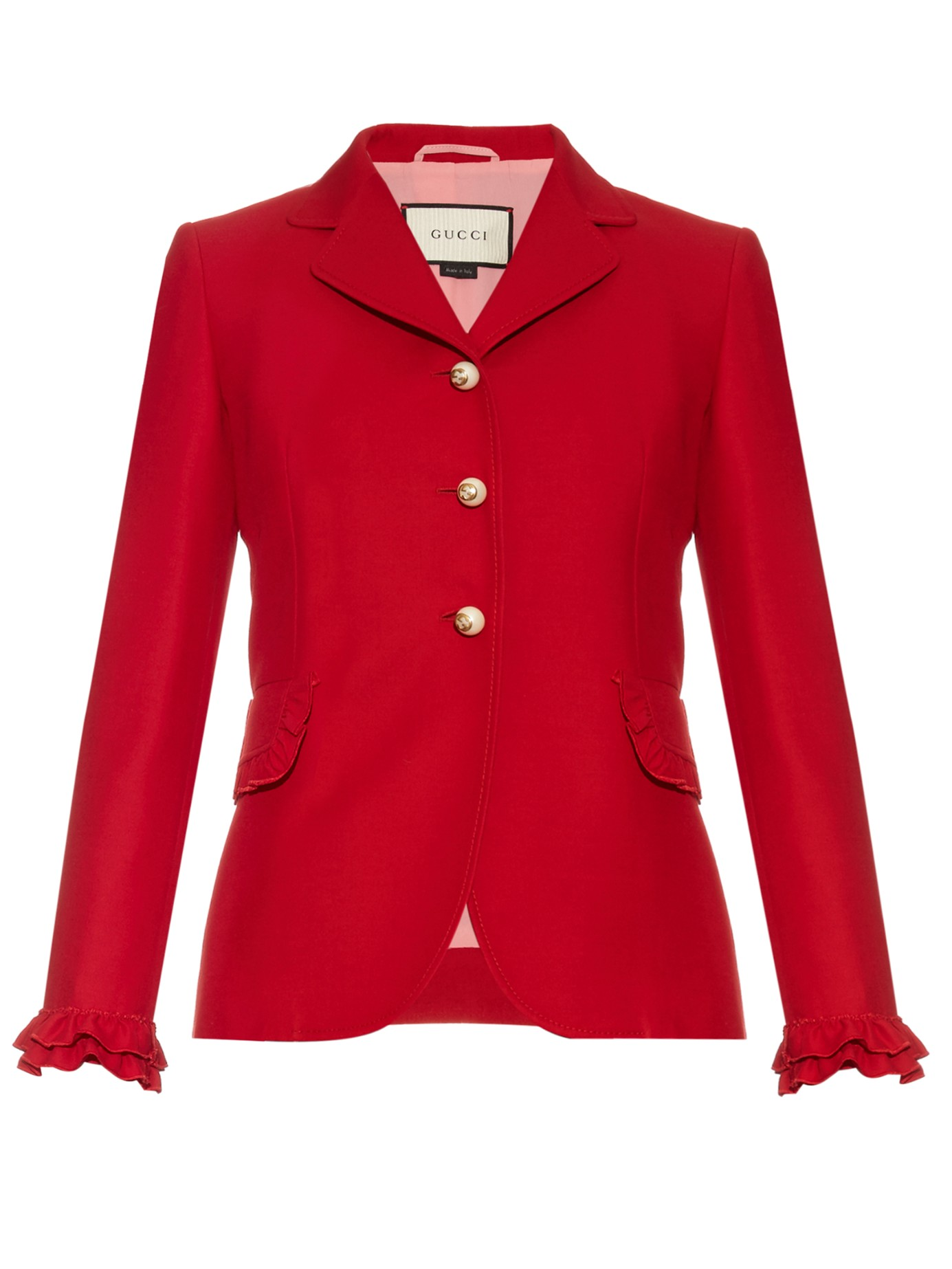 CASUAL CHIC: GUCCI Ruffle-trimmed wool and silk-blend jacket