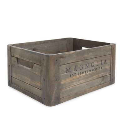 DESIGN IDEAS FOR AN ELEGANT BEDROOM: Magnolia Home wooden crate