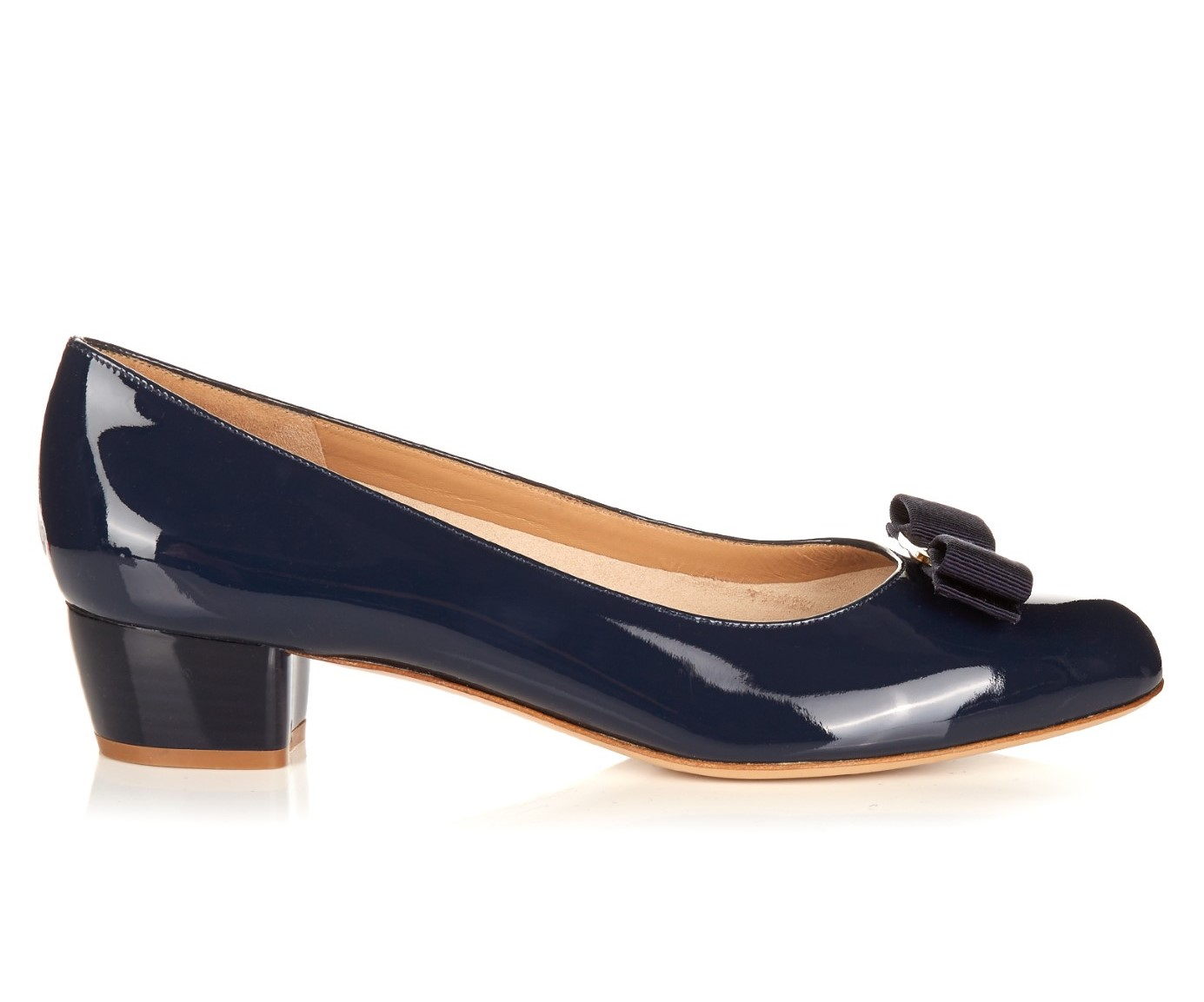 CASUAL CHIC: SALVATORE FERRAGAMO Vara C patent-leather pumps