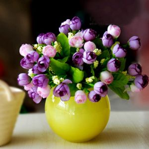 Photos of vases - pink and purple flowers in yellow vase.jpg