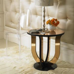 Peach Glass Deco Round Side Table - Rich and famous closets.jpg