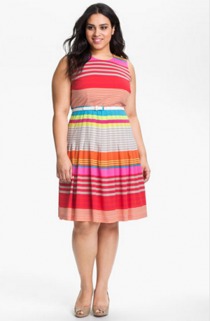 Calvin Klein Belted Striped Dress - Plus size