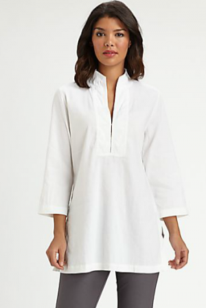 Eileen Fisher White Stand-Collar Tunic
