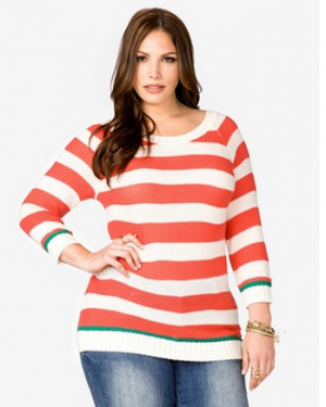 Forever 21 Plus size - Coral colourblocked striped open-knit sweater