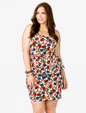 Forever 21 Plus size - Rose floral print peplum dress