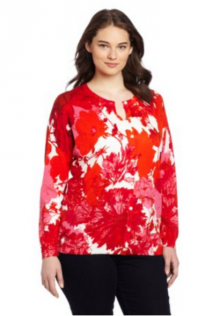 Jones New York Womens Plus-Size Long Sleeve Crew Neck