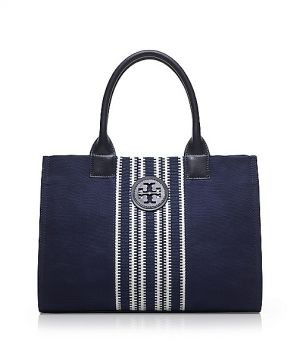 Tory Burch Small Center Stripe Ella Tote - navy
