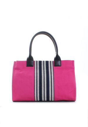 Tory Burch Small Center Stripe Ella Tote - pink