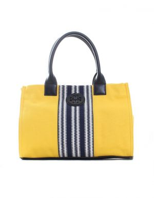 Tory Burch Small Center Stripe Ella Tote - yellow