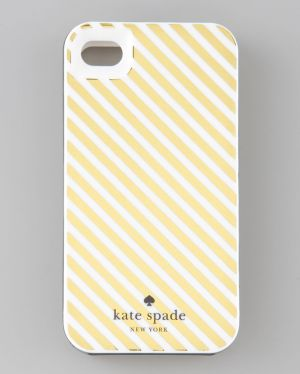 Kate Spade New York - Diagonal Stripe Case for iPhone 4 Gold Cream.jpg