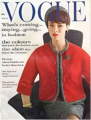 Vintage Vogue magazine covers - mylusciouslife.com - Vintage Vogue August 1961 - Karen Radkai.jpg