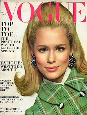Vintage Vogue magazine covers - mylusciouslife.com - Vintage Vogue February 1967 - Lauren Hutton.jpg