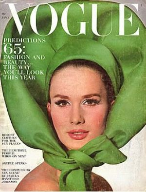 Vintage Vogue magazine covers - mylusciouslife.com - Vintage Vogue January 1965 - Brigitte Bauer.jpg