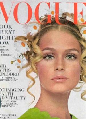 Vintage Vogue magazine covers - mylusciouslife.com - Vintage Vogue January 1968 - Lauren Hutton.jpg