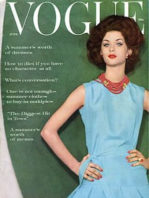 Vintage Vogue magazine covers - mylusciouslife.com - Vintage Vogue June 1960 - Karen Radkai.jpg
