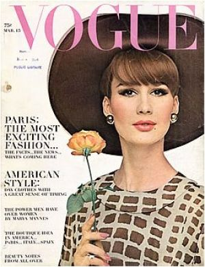 Vintage Vogue magazine covers - mylusciouslife.com - Vintage Vogue March 1964 - Brigitte Bauer.jpg
