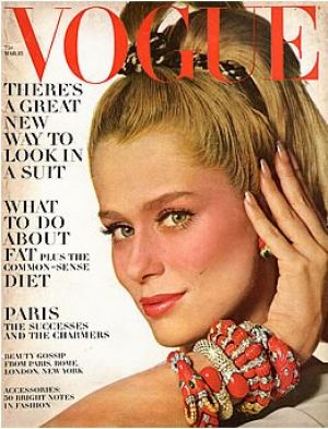 Vintage Vogue magazine covers - mylusciouslife.com - Vintage Vogue March 1967 - Lauren Hutton.jpg