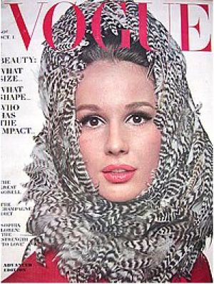 Vintage Vogue magazine covers - mylusciouslife.com - Vintage Vogue October 1963 - Brigitte Bauer.jpg