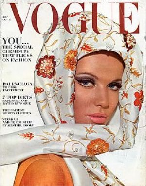 Vintage Vogue magazine covers - mylusciouslife.com - Vintage Vogue October 1964 - Veruschka.jpg