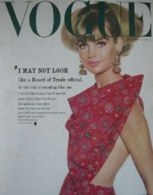 Vintage Vogue magazine covers - mylusciouslife.com - Vintage Vogue UK January 1964 - Jean Shrimpton.jpg