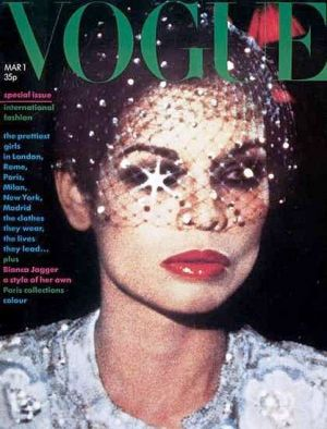 Vintage Vogue magazine covers - mylusciouslife.com - Vintage Vogue UK March 1974 - Bianca Jagger.jpg
