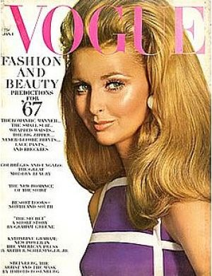 Vintage Vogue magazine covers - wah4mi0ae4yauslife.com - Vogue 1967 January 1 - Samantha Jones Vintage Vogue 1967.jpg