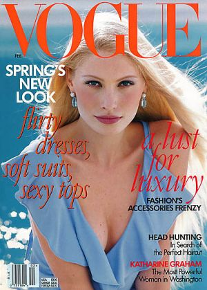 Vintage Vogue magazine covers - mylusciouslife.com - Vogue February 1997 - Kirsty Hume.jpg