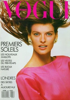 Vintage Vogue magazine covers - mylusciouslife.com - Vogue Paris April 1988 - Linda Evangelista.jpg