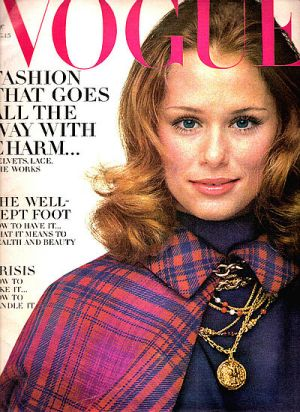 Vintage Vogue magazine covers - mylusciouslife.com - Vintage Vogue August 1968 - Lauren Hutton.jpg