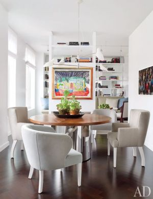 A Manhattan Apartment decorated by Vicente Wolf - dining chairs in greige
