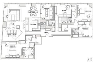 A Manhattan Apartment decorated by Vicente Wolf - floorplan