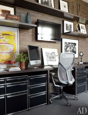 Masculine study home office - A Manhattan Apartment decorated by Vicente Wolf