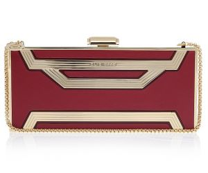 Elie Saab Rectangle Box Clutch Bag in red and gold