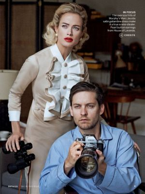 Carolyn Murphy and Tobey Maguire by Peter Lindbergh for Vogue US April 2013