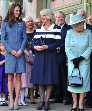 Kate Duchess of Cambridge arrives with Queen Elizabeth II and Camilla Duchess of Cornwall.jpg