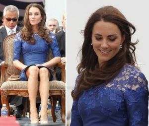 Kate Middleton images - Kate in Erdem navy Jacquenta dress for service in Canada.jpg