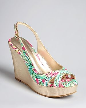 Lilly Pulitzer Open Toe Slingback Wedges - Floral Print.jpg