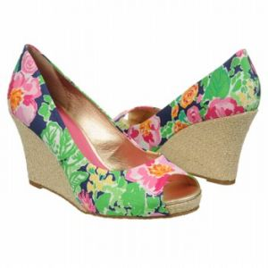 Lilly Pulitzer Resort Chic Wedge Peep Sandals Garden Floral Multi - Womens Sandals.jpg
