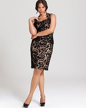 Black Lace Dress Plus Size - Qi Dress