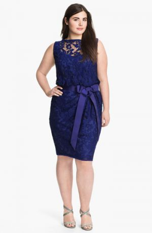 Tadashi Shoji Ribbon Tie Lace Overlay Dress - Plus size cocktail dress - blue bow Marina.jpg