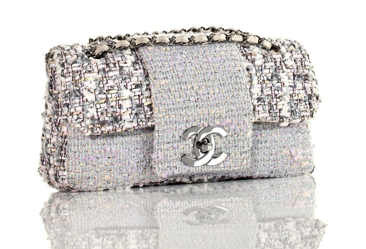 Clutch Jpg Chanel Tweed Classic Fantasy Flap Bag Rare Silver White