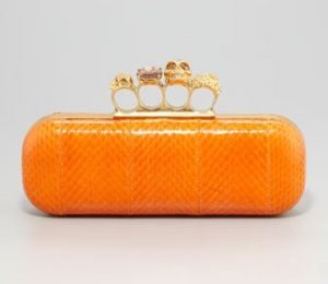 Alexander McQueen Knuckle-Duster Snakeskin Box Clutch Bag Orange.jpg