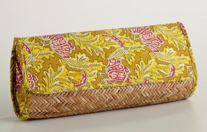 Cost Plus World Market Yellow Rattan Kalamkari Clutch Bag.jpg