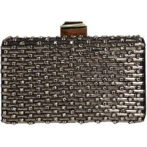 Lanvin Sea Breeze Minaudiere - Silver black clutch.jpg