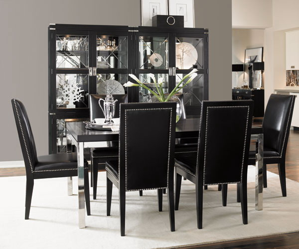 Stylish home black and white interiors for Black white dining room set